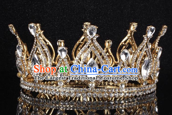 Top Grade Crystal Golden Royal Crown Baroque Princess Retro Wedding Bride Hair Accessories for Women