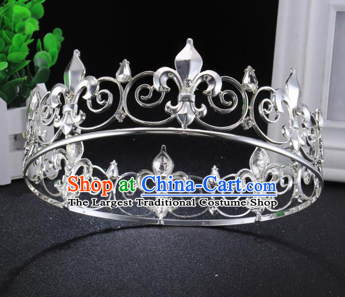 Top Grade Argent Royal Crown Baroque Princess Retro Wedding Bride Hair Accessories for Women