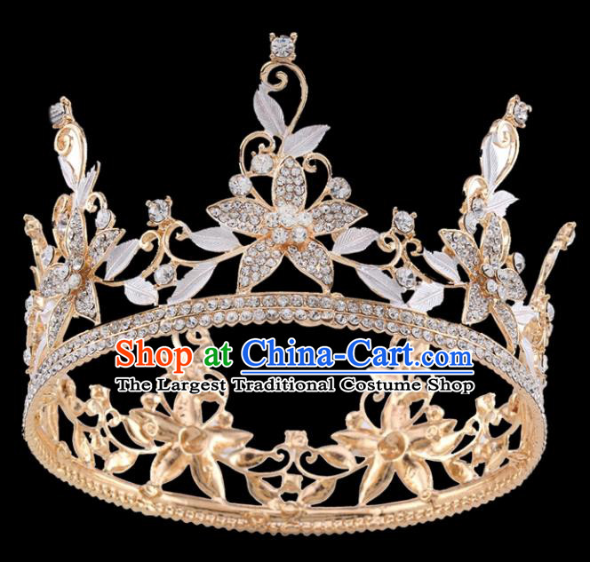 Handmade Top Grade Baroque Crystal Flowers Royal Crown Bride Retro Wedding Hair Accessories for Women