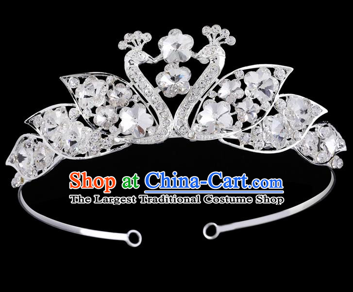 Handmade Top Grade Baroque Crystal Peacock Hair Clasp Royal Crown Bride Retro Wedding Hair Accessories for Women