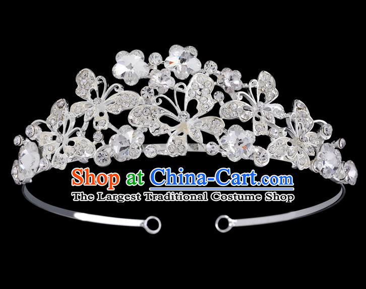 Handmade Top Grade Baroque Crystal Butterfly Hair Clasp Royal Crown Bride Retro Wedding Hair Accessories for Women