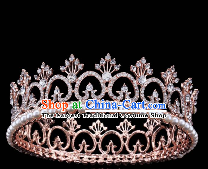 Top Grade Retro Pearls Round Royal Crown Baroque Queen Wedding Bride Hair Accessories for Women