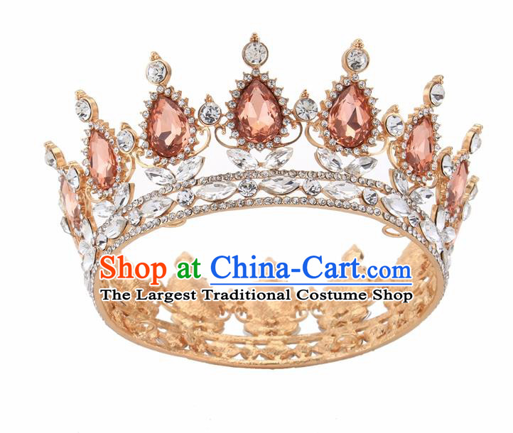 Top Grade Queen Retro Champagne Rhinestone Golden Royal Crown Baroque Wedding Bride Hair Accessories for Women