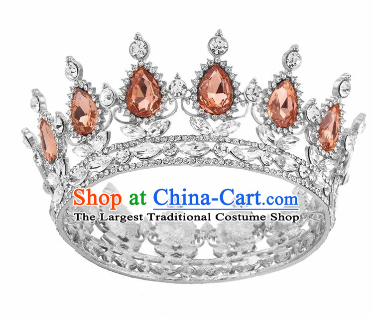 Top Grade Queen Retro Champagne Rhinestone Royal Crown Baroque Wedding Bride Hair Accessories for Women