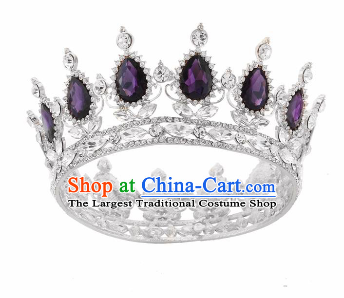 Top Grade Queen Retro Purple Rhinestone Royal Crown Baroque Wedding Bride Hair Accessories for Women