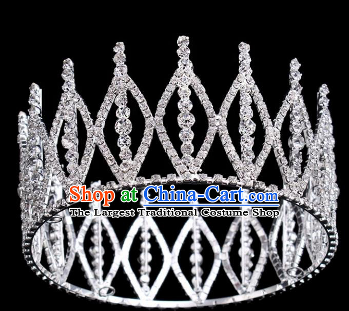 Top Grade Princess Round Royal Crown Retro Baroque Wedding Bride Hair Accessories for Women