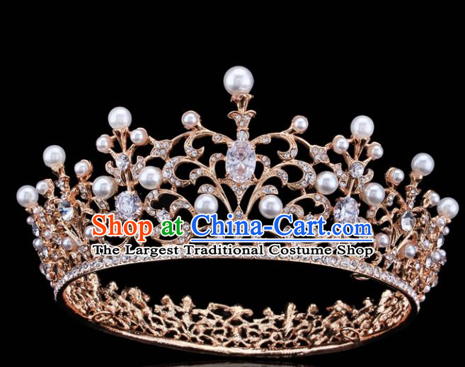 Top Grade Retro Pearls Crystal Golden Royal Crown Baroque Queen Wedding Bride Hair Accessories for Women