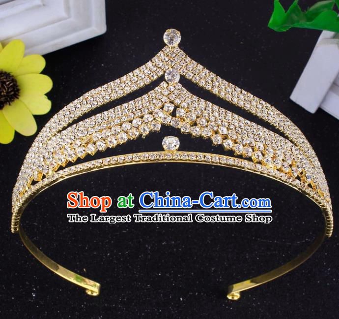 Top Grade Baroque Style Rhinestone Golden Royal Crown Bride Retro Wedding Hair Accessories for Women