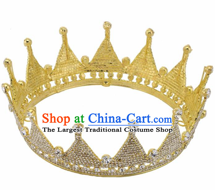 Handmade Top Grade Princess Crystal Golden Round Royal Crown Baroque Bride Retro Wedding Hair Accessories for Women