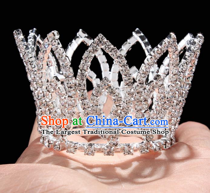 Handmade Top Grade Wedding Little Round Crystal Royal Crown Baroque Queen Retro Hair Accessories for Women