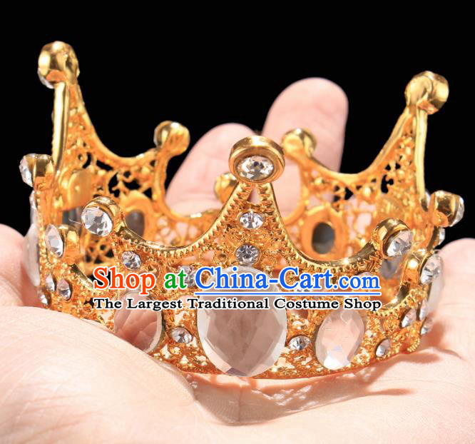Handmade Top Grade Wedding Golden Round Crystal Royal Crown Baroque Queen Retro Hair Accessories for Women