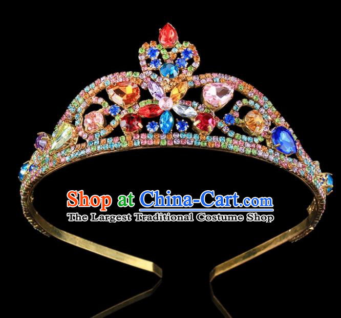 Handmade Top Grade Wedding Colorful Crystal Royal Crown Baroque Princess Retro Hair Accessories for Women