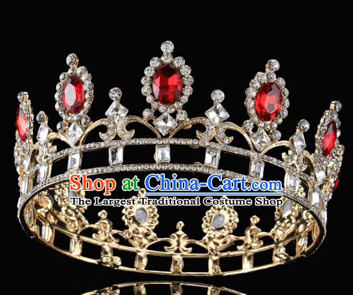 Handmade Top Grade Wedding Red Crystal Royal Crown Baroque Princess Retro Hair Accessories for Women
