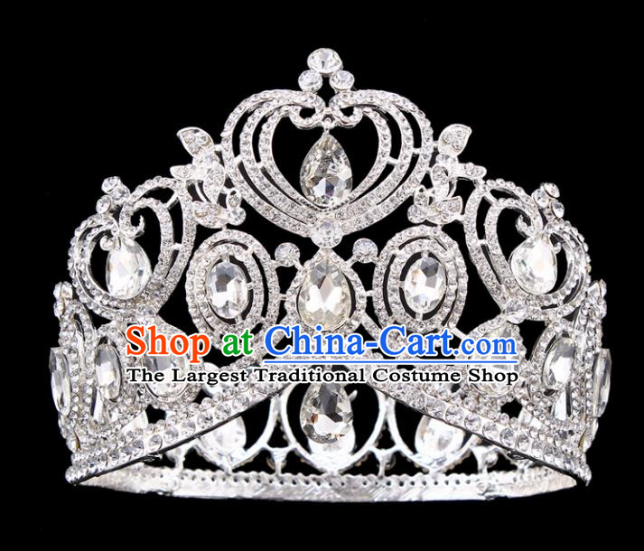 Top Grade Handmade Wedding Crystal Royal Crown Baroque Retro Hair Accessories for Women
