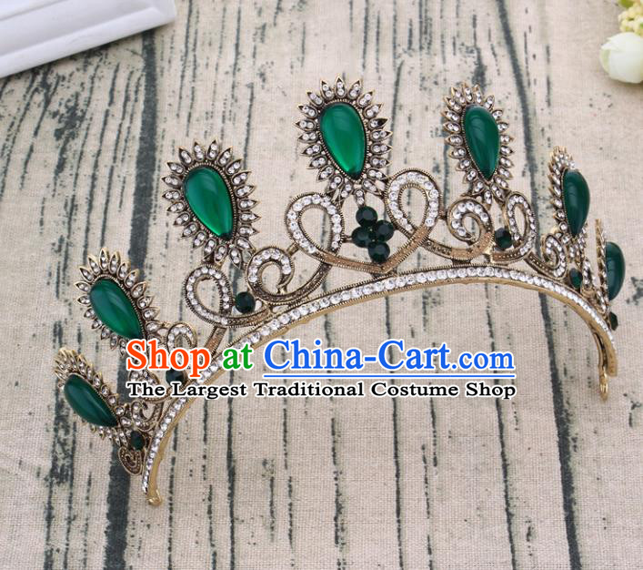 Handmade Bride Wedding Hair Jewelry Accessories Baroque Green Crystal Royal Crown for Women