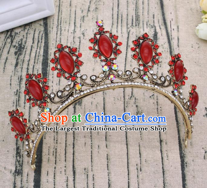 Handmade Bride Wedding Hair Jewelry Accessories Baroque Red Crystal Royal Crown for Women