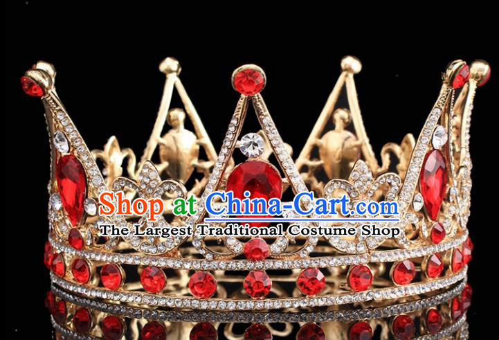 Handmade Bride Wedding Red Crystal Hair Jewelry Accessories Baroque Round Royal Crown for Women