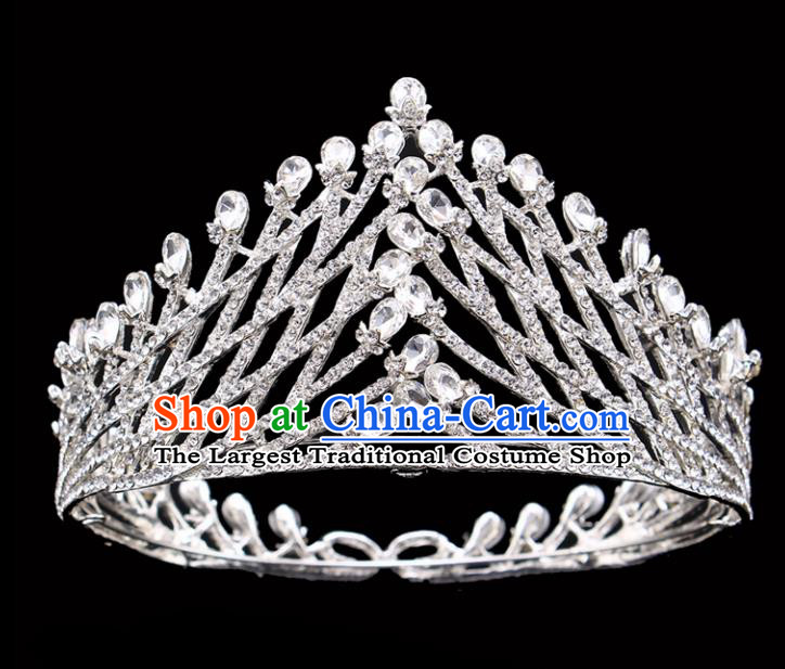 Handmade Bride Wedding Hair Jewelry Accessories Baroque Queen Crystal Argent Royal Crown for Women