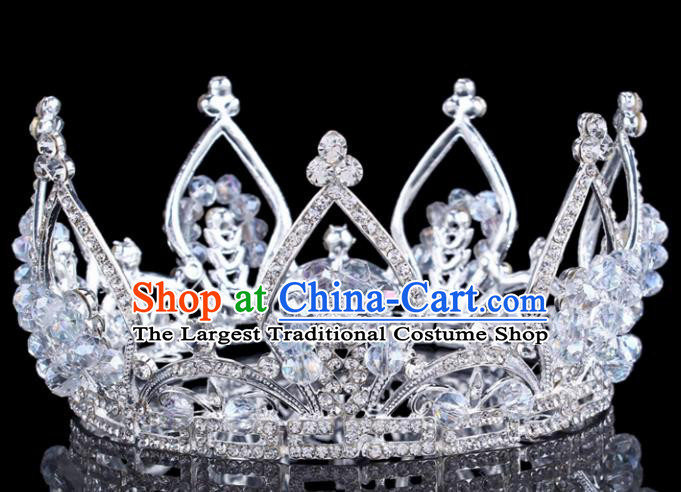 Handmade Bride Wedding Hair Jewelry Accessories Baroque Queen Crystal Beads Royal Crown for Women