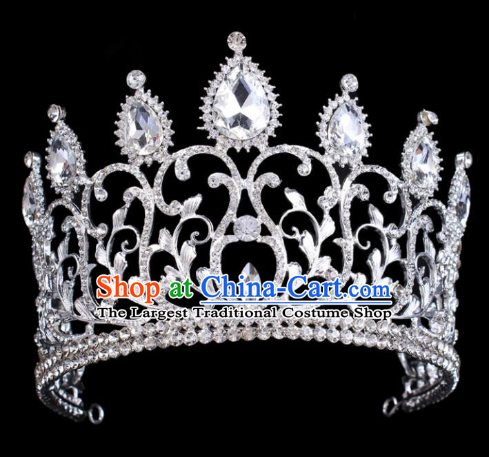 Handmade Wedding Hair Jewelry Accessories Baroque Queen Crystal Royal Crown for Women