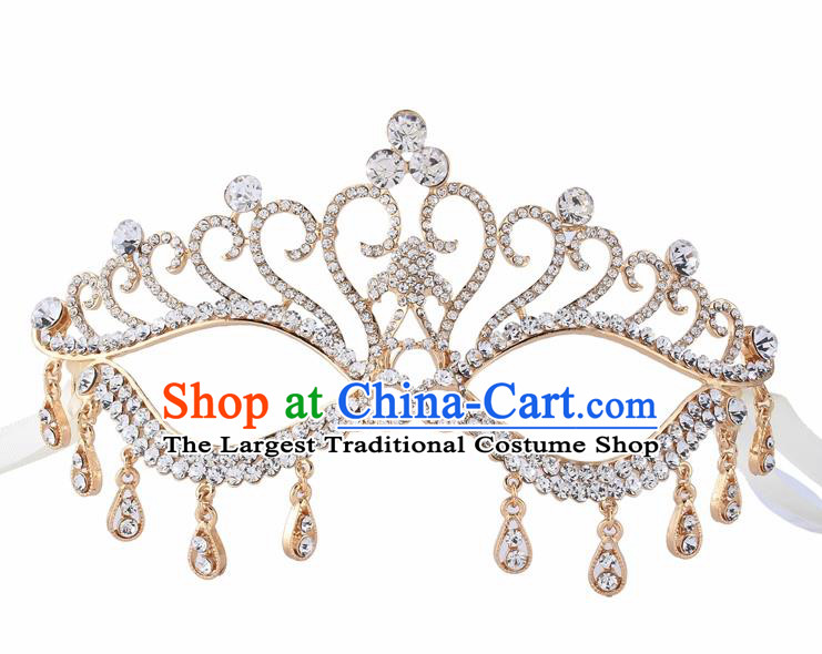 Handmade Halloween Accessories Face Mask Venice Fancy Ball Crystal Tassel Golden Masks for Women