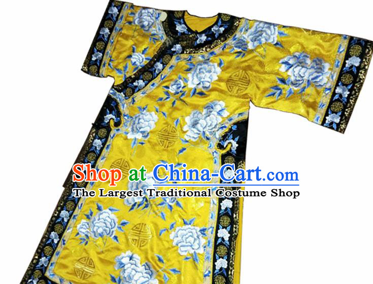 Chinese Ancient Qing Dynasty Imperial Empress Embroidered Yellow Costumes for Women