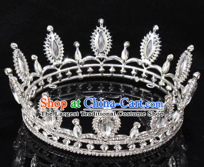 Top Grade Baroque Court Princess Crystal Round Royal Crown Wedding Bride Hair Accessories for Women