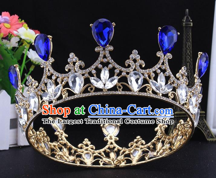Top Grade Baroque Court Princess Round Crystal Royal Crown Wedding Bride Hair Accessories for Women