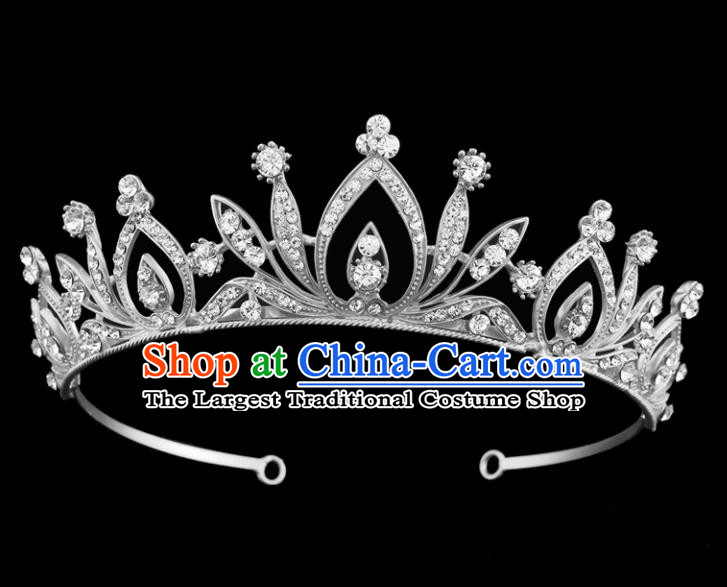 Top Grade Baroque Court Princess Argent Crystal Hair Clasp Bride Wedding Hair Jewelry Accessories for Women