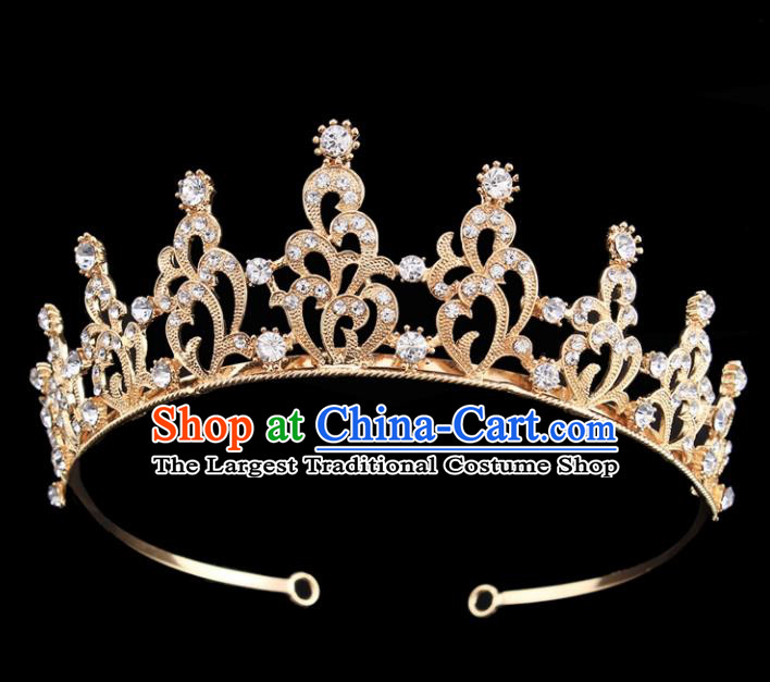 Top Grade Baroque Court Princess Zircon Golden Hair Clasp Bride Wedding Hair Jewelry Accessories for Women