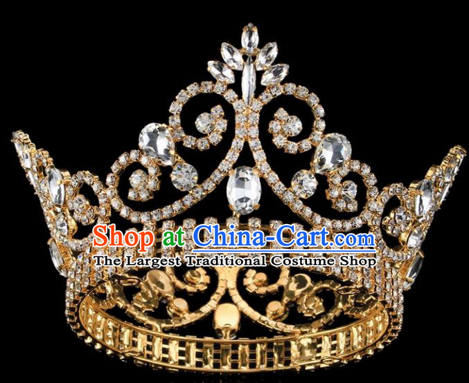 Top Grade Bride Wedding Hair Jewelry Accessories Baroque Court Princess Golden Round Royal Crown for Women