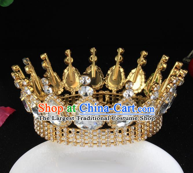 Top Grade Bride Wedding Hair Jewelry Accessories Baroque Court Queen Round Golden Royal Crown for Women