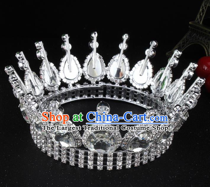 Top Grade Bride Wedding Hair Jewelry Accessories Baroque Court Queen Round Argent Royal Crown for Women