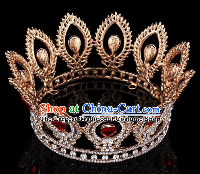 Top Grade Bride Wedding Hair Jewelry Accessories Baroque Red Crystal Round Royal Crown for Women