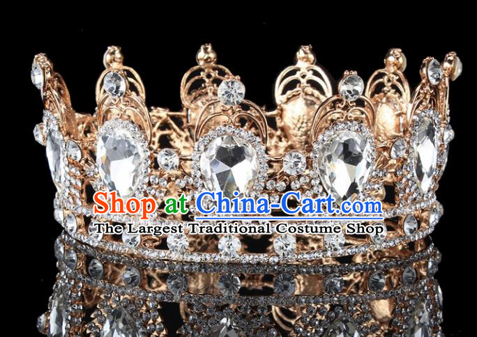 Handmade Bride Wedding Hair Jewelry Accessories Baroque Crystal Round Royal Crown for Women