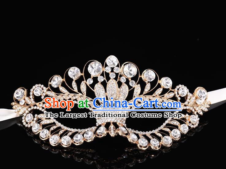 Handmade Halloween Accessories Venice Fancy Ball Cosplay Props Crystal Champagne Masks for Women