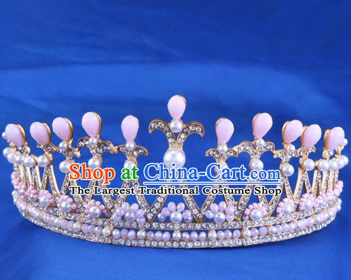Handmade Bride Wedding Hair Jewelry Accessories Baroque Pink Beads Royal Crown for Women