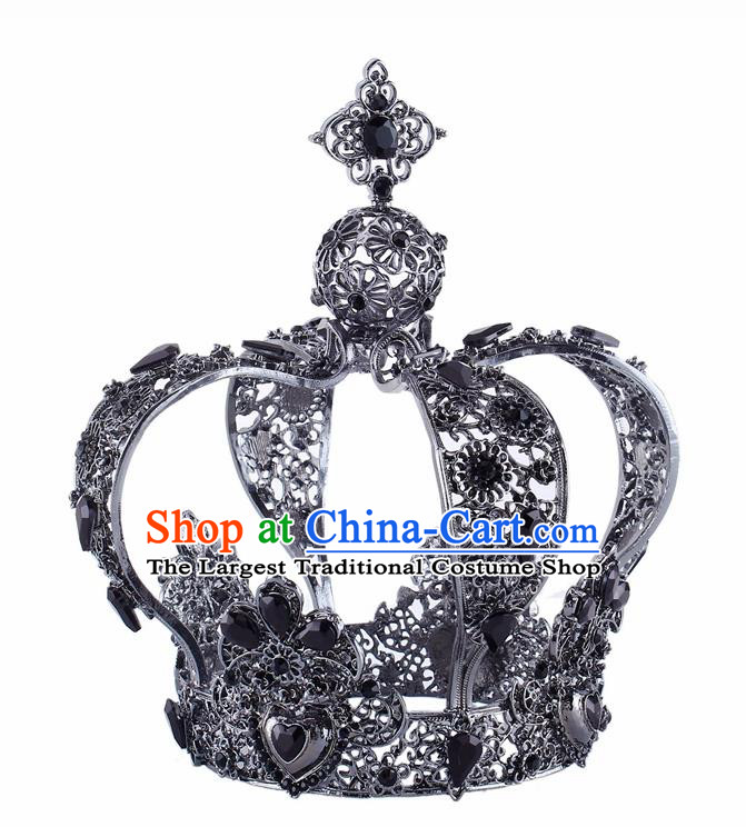 Handmade Bride Wedding Hair Jewelry Accessories Baroque Queen Black Royal Crown for Women