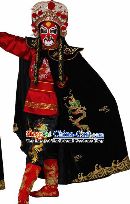 Traditional Chinese Beijing Opera Costume Sichuan Opera Changing Faces Embroidered Dragons Cloak for Men