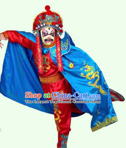 Chinese Traditional Beijing Opera Costumes Sichuan Opera Changing Faces Embroidered Blue Cloak for Men