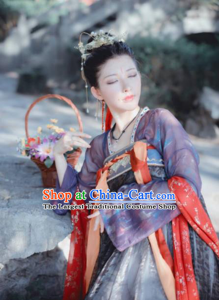 Chinese Tang Dynasty Princess Costumes Ancient Nobility Lady Hanfu Dress for Women
