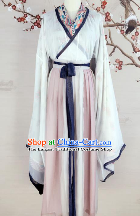 Chinese Jin Dynasty Princess Costumes Ancient Swordswoman Hanfu Dress for Women