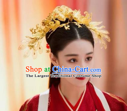 Chinese Ancient Imperial Consort Hair Accessories Golden Phoenix Hairpins for Women