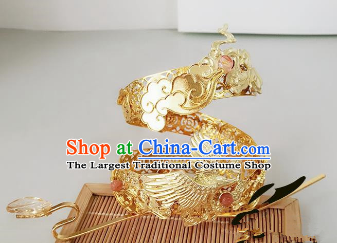 Chinese Ancient Hair Accessories Prince Golden Hairdo Crown Hairpins for Men