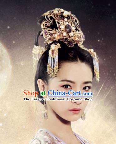 Chinese Ancient Imperial Consort Hair Accessories Tang Dynasty Phoenix Coronet Hairpins for Women