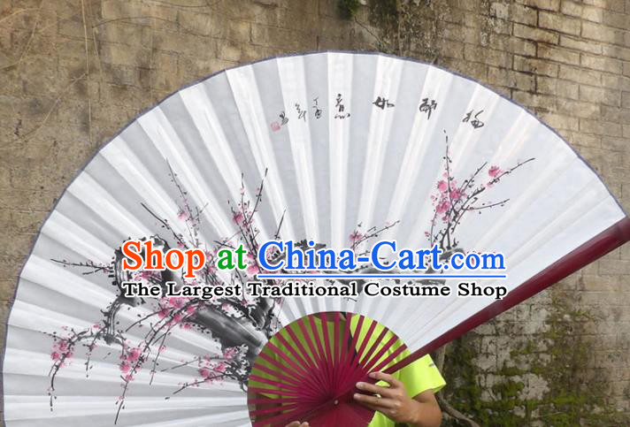 Chinese Traditional Paper Fans Decoration Crafts Hand Painting Red Plum Blossom Red Frame Folding Fans
