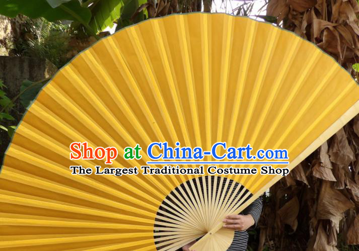 Chinese Traditional Yellow Silk Fans Decoration Crafts Handmade Folding Fans