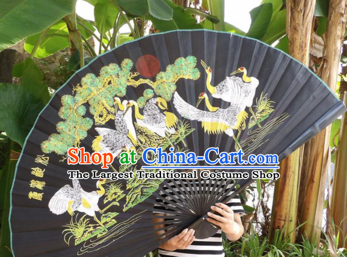 Chinese Traditional Black Silk Fans Decoration Crafts Handmade Printing Cranes Folding Fans