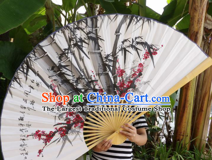 Chinese Traditional Paper Fans Decoration Crafts Handmade Painting Plum Blossom Bamboo Folding Fans