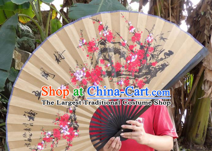 Chinese Traditional Paper Fans Decoration Crafts Handmade Painting Red Plum Blossom Folding Fans
